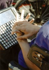 photo of a communication keyboard. Photo credit: Center for Excellence in Disabilities, WVU