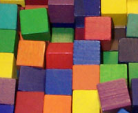 photo of colored blocks used in OT. Photo credit: Barb Ballard, Chantilly, VA