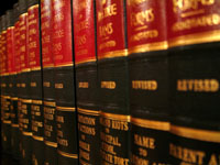 law books on a bookshelf. Photo: Peter Skadberg www.bmmi.us