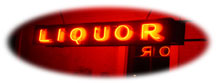 orange neon LIQUOR sign