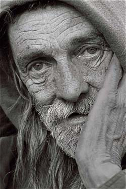 black and white portrait of a homeless man. Photo credit: Leroy Skalstad