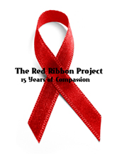 photo of a red ribbon with title The Red Ribbon Project, 15 years of compassion