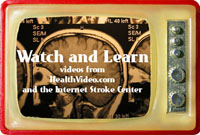 Retro-style TV with CT images of a head and text Watch and Learn: Videos from Healthvideos.com and the Internet Stroke Center