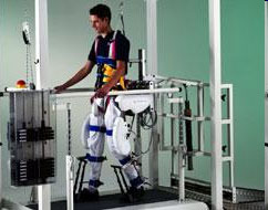 man in therapeutic robotic walker